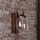 Urn-Shape Transparent Glass Wall Lamp Farmhouse 1 Bulb Corridor Wall Lighting Fixture in Black