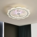 Metal Flower Pendant Fan Light Modern 20