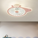 Pink/Blue Pig Ceiling Fan Lamp Fixture Cartoon 20