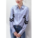 Trendy Womens Striped Printed Patchwork Button Up Turn-down Collar Long Sleeve Loose Fit Shirt in Blue