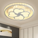 Flower Ceiling Lighting Contemporary White Crystal LED Bedroom Flush Mount Lamp in Warm/White Light with Clear Crystal Accent