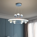 Metallic UFO Chandelier Light Modern Style LED Suspension Lighting in Pink/Blue for Sleeping Room