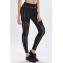 New Fashion High Waisted Hybrid Contrast Piping Black yoga Leggings
