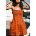 Pretty Womens Plain Bow Tied Shoulder Pintuck Button Up Short Pleated Smock Sundress in Brown