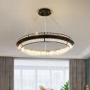 Crystal Encrusted Hoop Chandelier Minimalist Living Room LED Pendant Lighting in Black