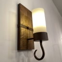 Milk Glass Pillar Candle Sconce Light Rural 1 Bulb Corridor Wall Mount Lamp with Hook in Brown