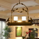 Opal Glass Pillar Candle Chandelier Rural 2-Bulb Dining Room Pendant Light with Bird and Arch Frame in Distressed Black