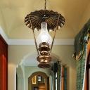 Kerosene Lamp Shape Corridor Pendant Vintage Metal 1-Light Bronze Finish Hanging Ceiling Light