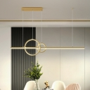 Modern Hoop and Line Multi Pendant Metallic Dining Room LED Ceiling Hang Fixture in Black/Gold, White/Warm Light