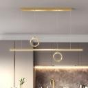 Black/Gold Ring and Line Multi Light Pendant Minimalism LED Metal Hanging Lamp Fixture in White/Warm Light