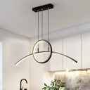 Ring and Arched Dining Room Chandelier Light Metal LED Simple Ceiling Pendant Lamp in Black/Gold, White/Warm Light