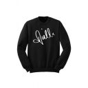 Basic Mens Letter Pattern Long Sleeve Crew Neck Relaxed Pullover Sweatshirt in Black