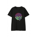 Simple Chinese Letter Print Short Sleeve Crew-neck Loose T Shirt for Guys