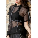 Sexy Summer Style Letter Drawstring Hooded Mesh Net See Through Cropped Tee