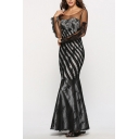 Boutique Ladies Striped Printed Sheer Mesh Long Sleeve Round Neck Long Fishtail Evening Dress in Black