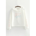 Trendy Letter Spirit Embroidery Bow Printed Long Sleeve Drawstring Relaxed Hoodie