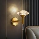Mushroom Shaped K9 Crystal Wall Lamp Post-Modern 1 Head Living Room Wall Light Sconce in Gold
