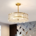 Scalloped Drum Bedroom Chandelier Post-Modern Clear Crystal 4-Bulb Brass Pendant Lamp