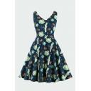 Pretty Ladies Allover Cactus Print Sleeveless V-neck Short Pleated Swing Dress in Dark Blue