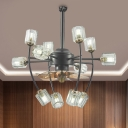 3 Blades 12-Bulb Flush Ceiling Fan Country Style Tiered Prismatic Crystal Semi Flush Light in Black, 31.5
