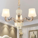 3/6 Lights Chandelier Pendant Light Traditional Tapered Crystal Ceiling Lamp in Gold with White Glass Shades