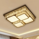 LED Square Close to Ceiling Lighting Contemporary Clear Crystal Flush Mount Lighting for Parlor