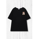Popular Cartoon Bear Embroidered Print Short Sleeve Round Neck Loose Fit Tee Top for Girls