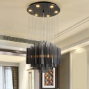 Black Layers Hanging Lighting Contemporary Crystal Living Room LED Multi Ceiling Light, 31.5