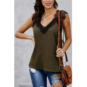 Trendy Womens Lace Patchwork Backless V Neck Sleeveless Regular Fit Tank Top