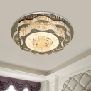 2-Layer Flowers LED Flushmount Modern Stainless Steel Crystal Flush Mount Ceiling Light