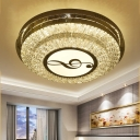 Musical Note/Linear/Flower Flushmount Lighting Contemporary Cut Crystal Stainless-Steel LED Ceiling Mounted Fixture