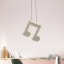Musical Note Restaurant Suspension Lighting Crystal LED Contemporary Ceiling Pendant Light in Stainless-Steel
