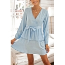 Basic Girls Solid Color Long Sleeve Surplice Neck Bow Tie Waist Bi-layered Short A-line Dress in Blue
