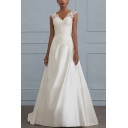 Glamorous Womens Plain Hollow Out Lace Gathered Waist Open Back V Neck Sleeveless Floor Length Fit&Flare Gown in White