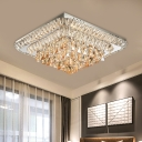Tiered Square Crystal Flush Mount Modern Style Bedroom LED Flush Mount Ceiling Light Fixture in Chrome