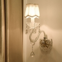 Candle Wall Lighting Contemporary Clear Crystal 1/2-Light Flush Mount Wall Sconce in White with Scalloped Shade