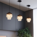 Faceted Glass Double-Layered Suspension Light Modern 1 Bulb Ceiling Hang Fixture in Black/Gold