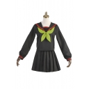 Preppy Girls Striped Long Sleeve Sailor Collar Bow Tied Relaxed Tee Top & Mini A-line Pleated Skirt Set in Black
