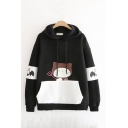 Cute Girls Cat Printed Contrasted Long Sleeve Drawstring Pouch Pocket Relaxed Hoodie