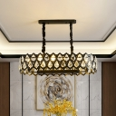 Modern Round Pendant Light with Grid Design Crystal 10/14 Bulbs 27.5