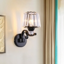 Black 1/2-Bulb Sconce Light Classic Clear Crystal Conical Shade Wall Mounted Lighting with Curvy Arm