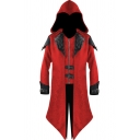 Medieval Gothic Embroidery Zip Front Fake Two Pieces Panel Longline Hooded Coat