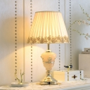 Pleated Fabric Cone Shade Table Lamp Rural Single Bedroom Nightstand Light with Rose Trim in White