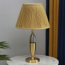Conical Pleated Fabric Night Table Lamp Post Modern 1 Head Yellow Desk Light with Capsule Stand