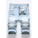 Cozy Mens Denim Shorts Light Wash Stacked Zip Fly Button Pocket Raw Edge Knee Length Mid Rise Straight Fit Denim Shorts