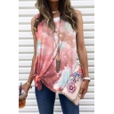 Trendy Summer Womens Tie Dye Printing Knot Side Crew Neck Sleeveless Loose Fit Tunic Tank Top