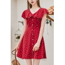 Adorable Womens Polka Dot Printed Short Sleeve V-neck Ruffled Button up Short A-line Dress in Red