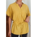 Trendy Yellow Short Sleeve V-neck Drawstring Waist Chest Pockets Loose Fit Shirt Top for Women