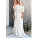 Bohemian Womens Crochet See-through Lace Ruffled Off the Shoulder Maxi Pleated Flowy Dress in White