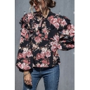 Fancy All over Flower Printed Blouson Sleeve Tied Neck Ruffled Trim Loose Fit Blouse in Black